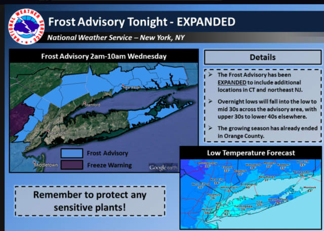 The frost advisory covers Northern Westchester, Putnam and Rockland.