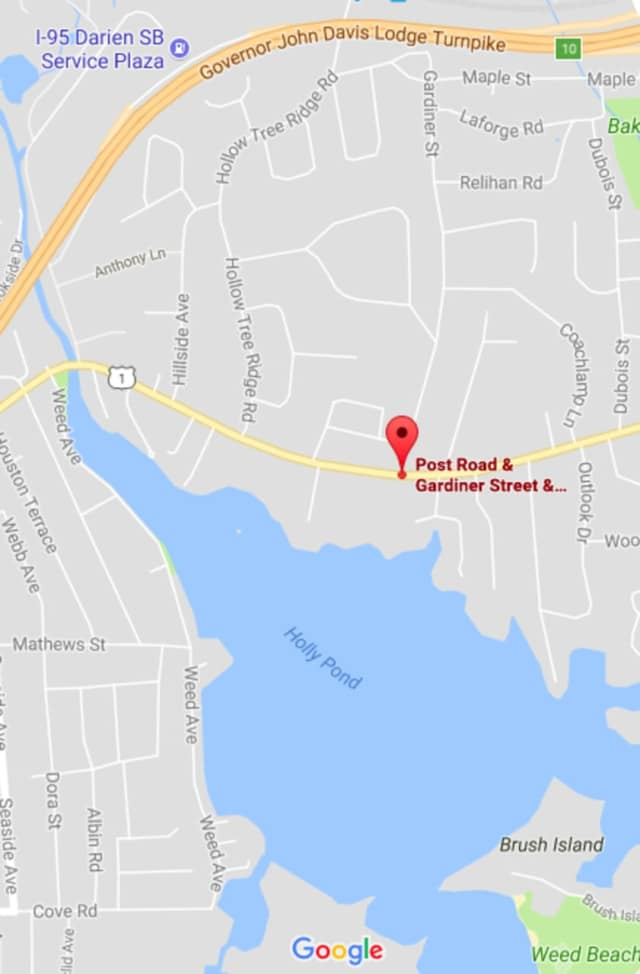 The Boston Post Road/Route 1 is closed Wednesday morning between Gardiner Street and Hampton Road, near the Stamford border.