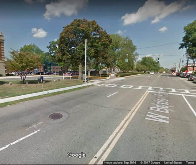 West Boston Post Road (Route 1) at the intersection of Mamaroneck High School.