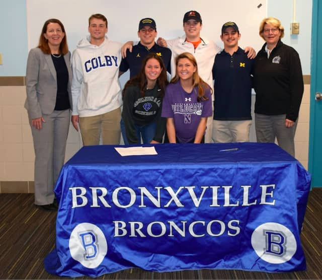 Bronxville High School Principal Ann Meyer (back row) with Dylan James, Andrew Babyak, Alston Tarry and Griffin Gelinas. Bronxville School Athletic Director Karen Peterson. (front tow) with Bronxville High