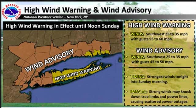 Strong winds may knock down tree limbs and power lines, causing power outages in the tristate area.