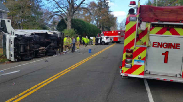 One injury was reported in a rollover crash on Route 123 in New Canaan.