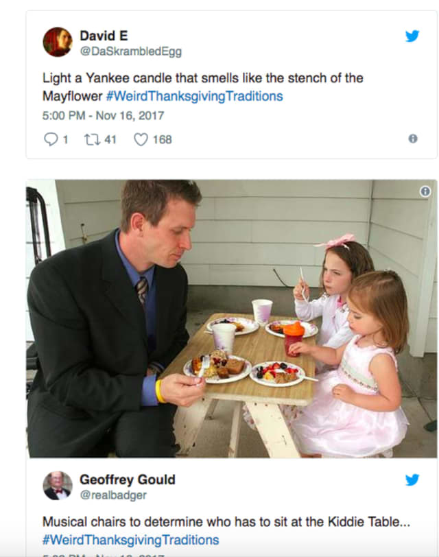 Got a weird Thanksgiving tradition? Tweet about it.
