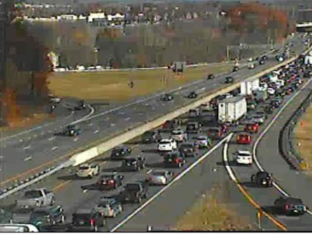 A look at the heavy delays Sunday afternoon on I-87 in Rockland near the Garden State Parkway connector (Exit 14A).
