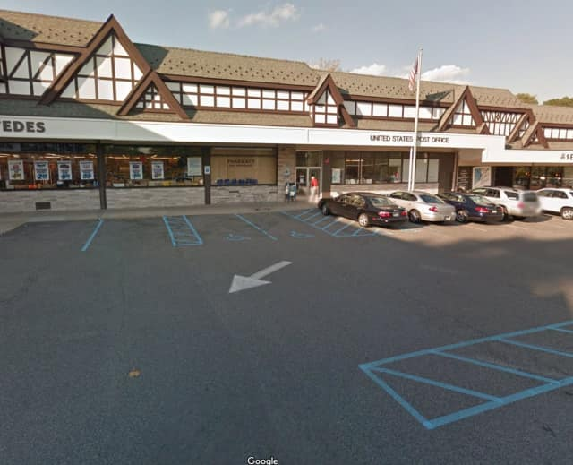 A driver struck the facade of the building outside the Post Office in Scarsdale.