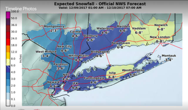 Between 3 and 6 inches of snow is expected throughout the tristate area, with higher amounts farther east.
