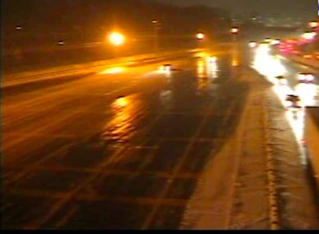 A look at conditions on I-95 in New Rochelle late Saturday afternoon.
