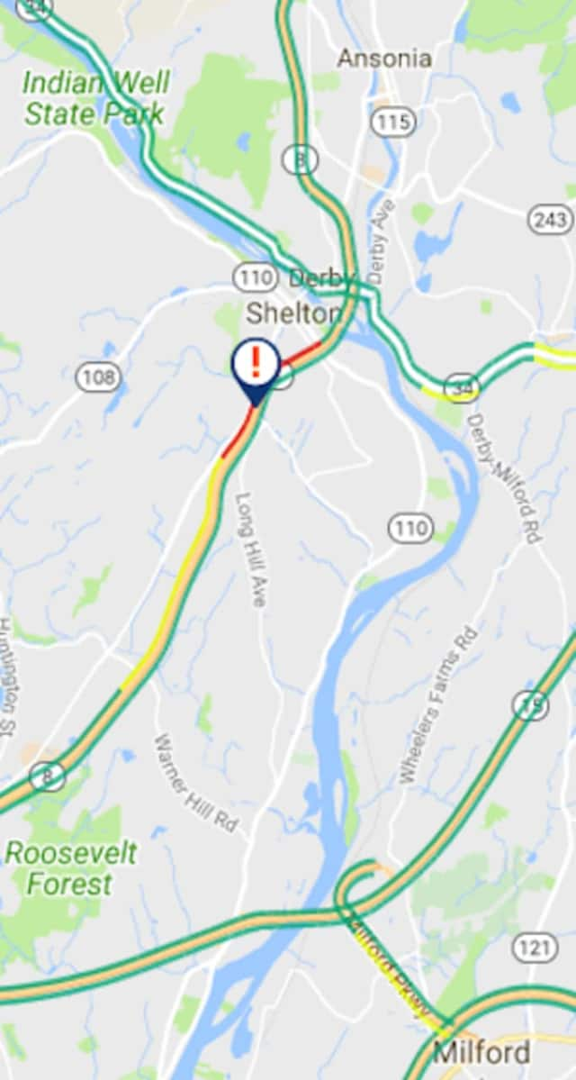 A rollover crash was reported on Route 8 in Shelton.