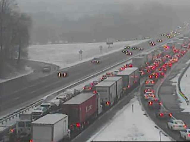 There is gridlock on Westchester-bound traffic on I-87 Thursday morning.