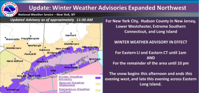 A look at areas, including Central and Southern Westchester where the advisory is in effect (in purple).