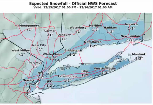 A look at expected snowfall projections through just past midnight on Saturday.