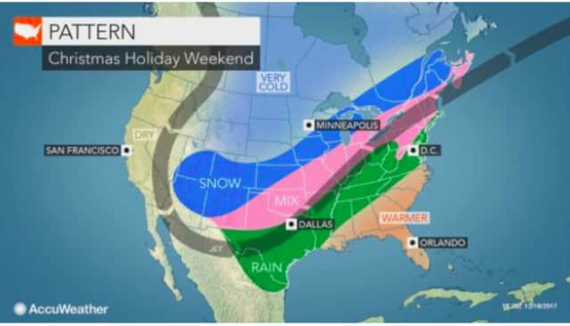 A stormy weather pattern is expected from Dec. 24-28.