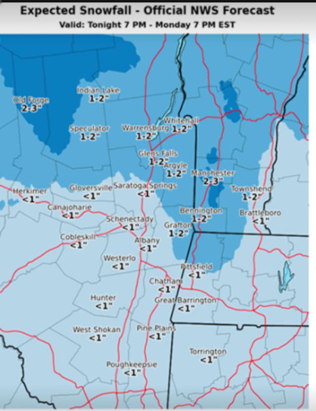 About an inch of snow accumulation is possible in Dutchess overnight into Monday morning.