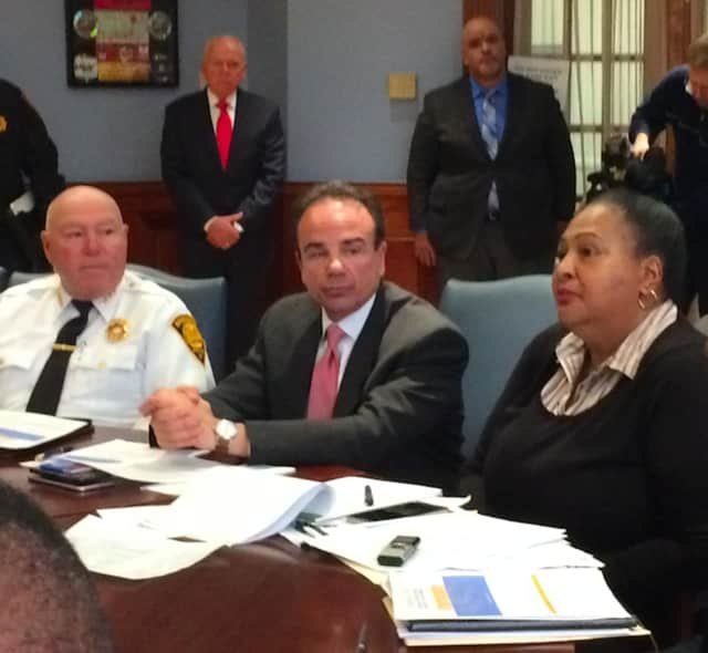 Bridgeport Police Chief A.J. Perez, Mayor Joe Ganim and community leader Carolyn Vermont were among those gathered Monday.