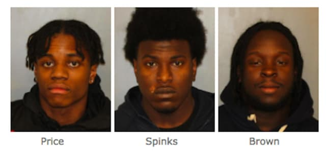 From left: Chayne Price, 19, of Middletown; Keimoni Spinks, 19, and Timothy Brown, 25, both of Spring Valley.