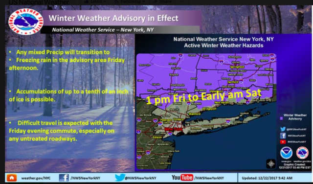 Winter Weather Advisories have been issued for several northern counties in the area, including Putnam, Dutchess and Orange counties. Advisories have not been issued for Westchester or Rockland.
