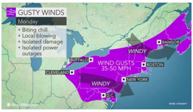 Winds will gust up to 50 miles per hour on Christmas Day.
