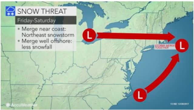 Two storm systems may attempt to merge and deliver snow to the area as the calendar gets set to flip to 2018.