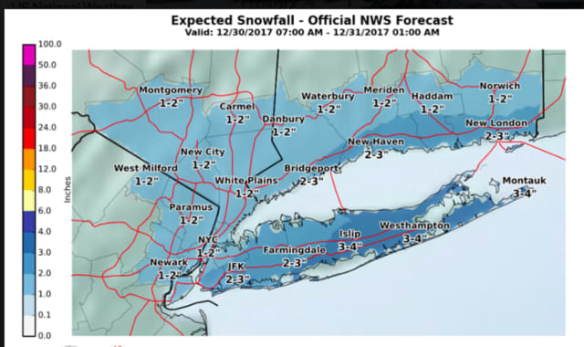 A look at snowfall projections for Saturday's storm shows higher amount farther east in the tristate region.