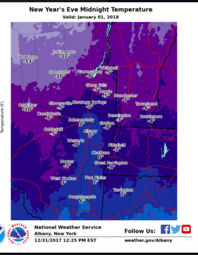 A look at projected midnight temperatures on Monday, Jan. 1 just after the new year starts.