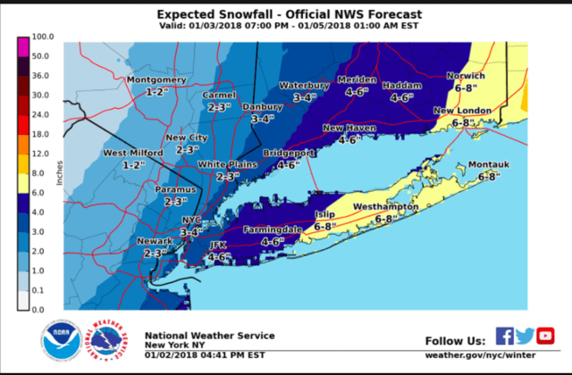 Snowfall projections for the storm arriving overnight Wednesday and continuing through Thursday.