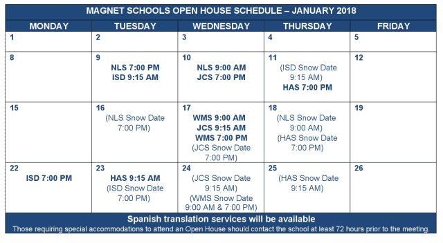 Here is the schedule of open houses for magnet schools in Greenwich this month.