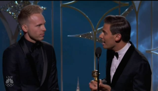 "Justin Paul and Benj Pasek accept the Golden Globe for Best Original Song in a Motion Picture on Sunday night. They won for the song ""This is Me"" from the P.T. Barnum movie ""The Greatest Showman."""
