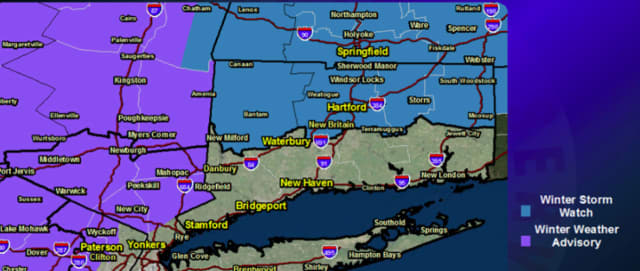 A look at areas where Winter Weather Advisories are in effect (shown in purple).