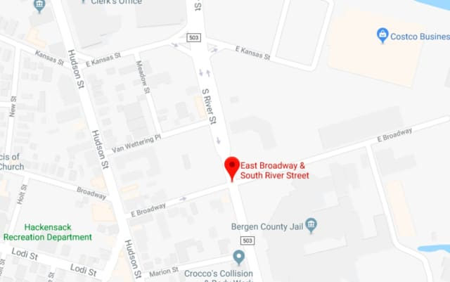 A Hackensack man who was jaywalking was issued a summons and transported to the hospital after being struck by a vehicle Tuesday evening, police said.