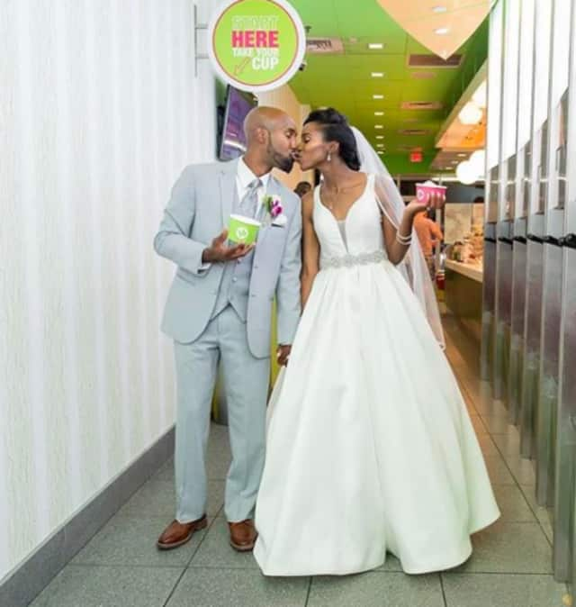 Tiffany French and Anthony Goffe went back to the New Rochelle 16 Handles where it all began.