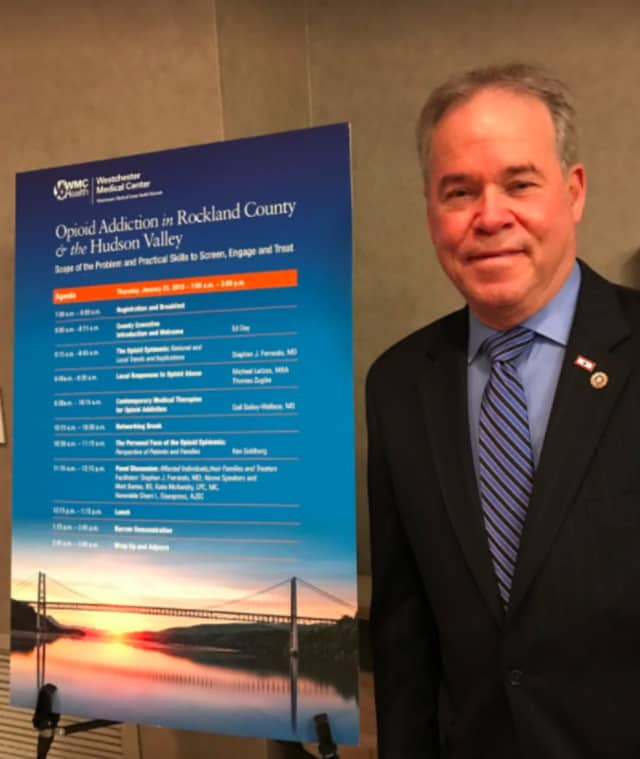 Rockland County Executive Ed Day at Thursday's all-day opioid addiction and training conference at Good Samaritan Hospital in Suffern. Additional training is planned at a similar event in June.