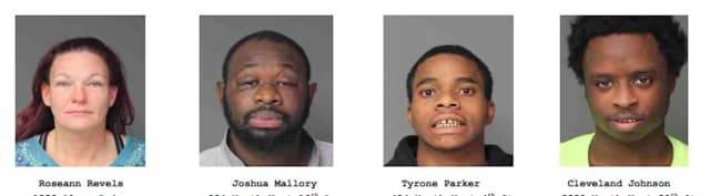 The four members of the Felony Lane Gang who were charged.