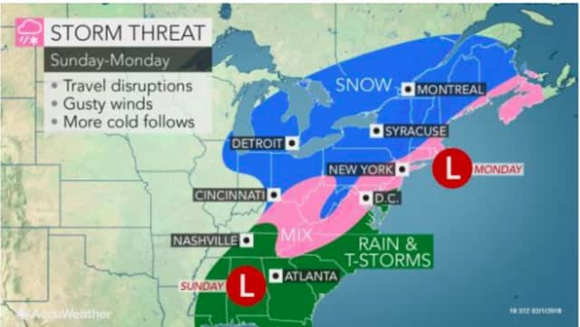 A look at the storm threat on Super Bowl Sunday.