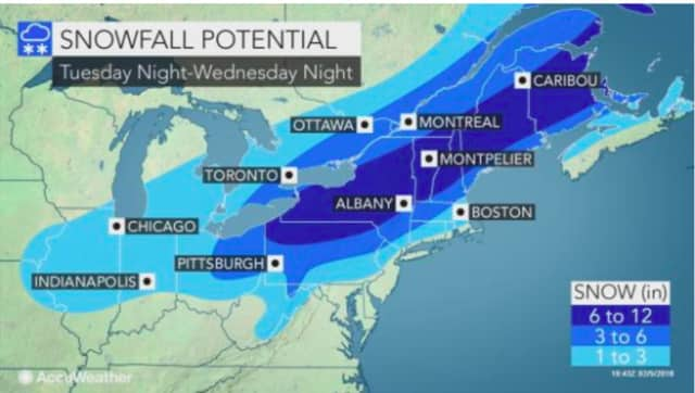 A look at projected snowfall totals for Wednesday's winter storm.