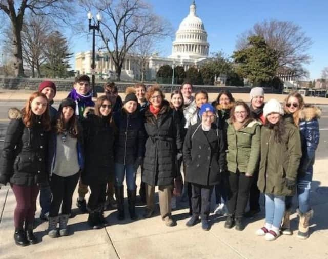 New Rochelle High School AP Government teacher Debbie Minchin with some of her students in Washington D.C.