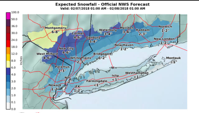 A look at the latest snowfall projections for Wednesday, issued late Tuesday afternoon by the National Weather Service.