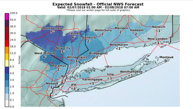 A look at the latest snowfall projections for Wednesday's storm by the National Weather Service.