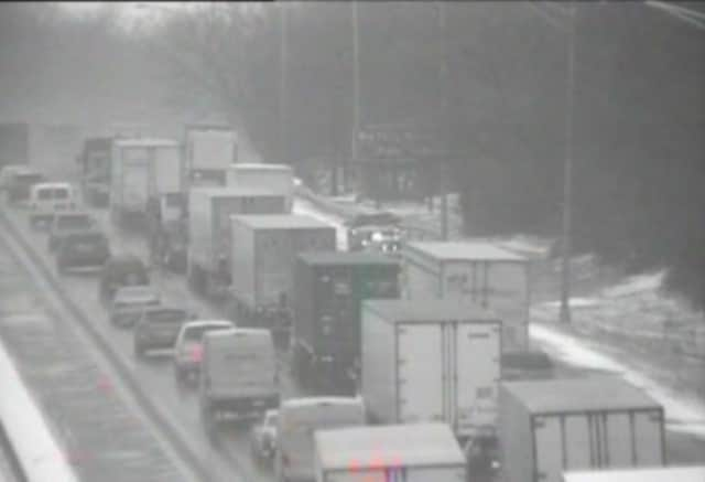 A look at conditions on I-95 in Greenwich on Wednesday morning.