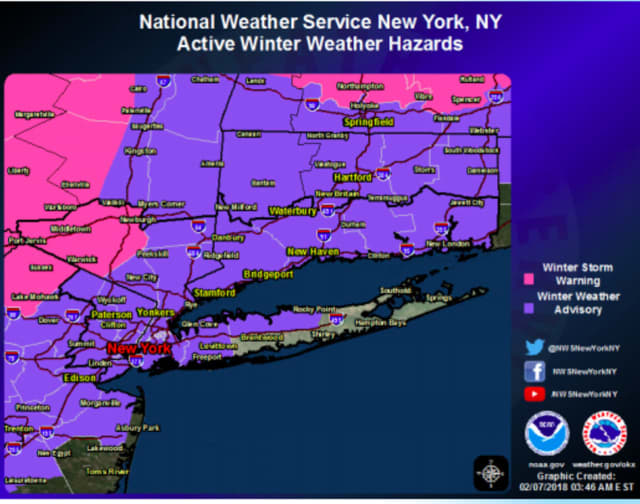 A look at areas covered by Winter Weather Advisories (purple) and Winter Weather Warnings (pink) on Wednesday.