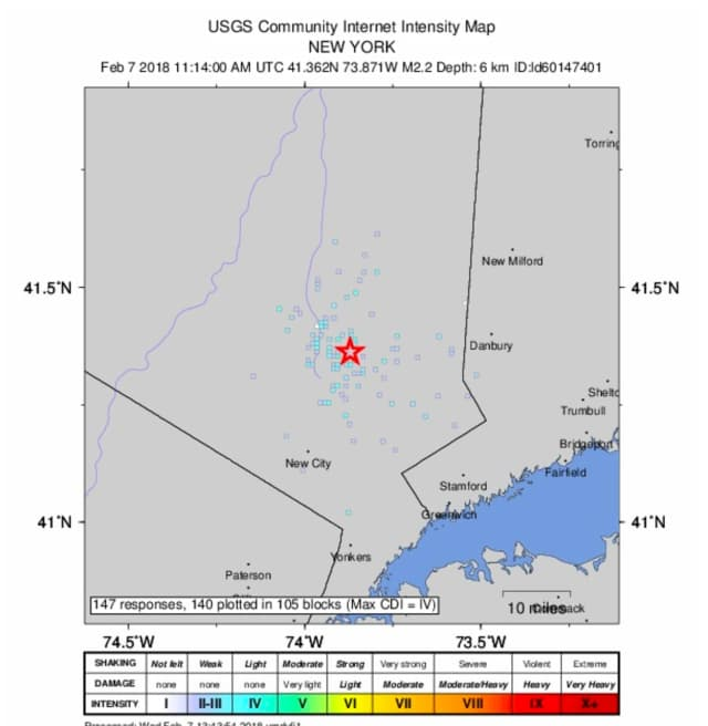 Detail on the 2.2 magnitude quake with an epicenter of Putnam Valley from the U.S. Geological Survey.