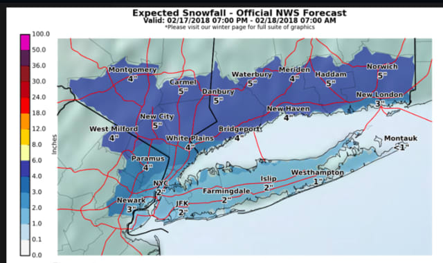 A look at the latest projected snowfall totals for the storm moving through the area Saturday night into Sunday morning.