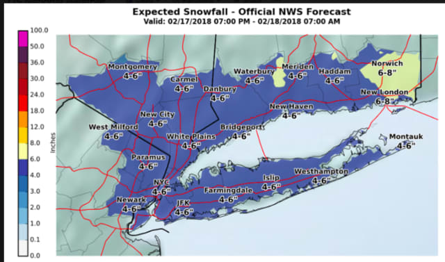 A look at the latest snowfall projections for Saturday's storm.
