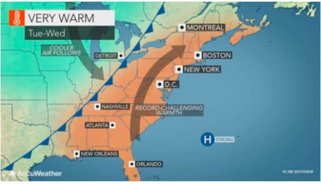 A look at the warm weather pattern that will arrive in the area Tuesday.