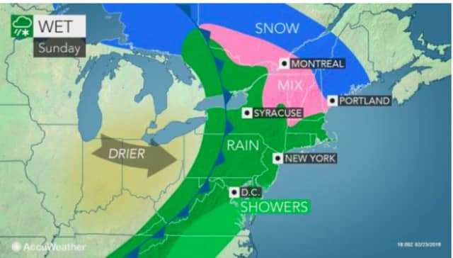 The stormy weather pattern will overspread the area, and the entire Northeast region.