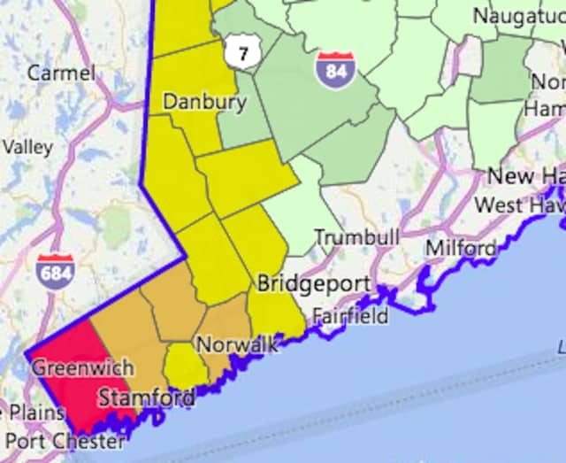 Greenwich has the most outages in Fairfield County on Saturday morning, with about 22 percent of customers without power.