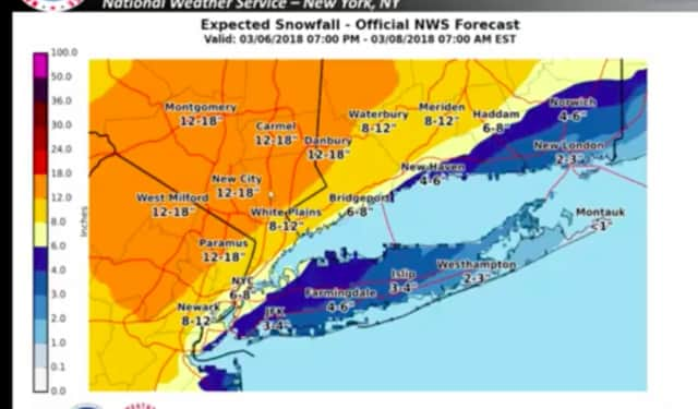 The latest snowfall projections for Wednesday, released late Tuesday evening by the National Weather Service.