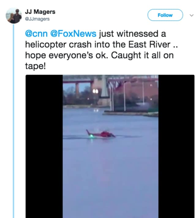Twitter user JJ Magers captures the moment a New Jersey tour helicopter crashed into the East River Sunday.