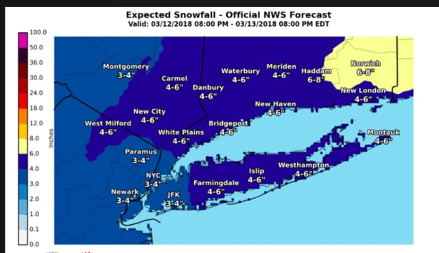 A look at projected snowfall totals for the latest Nor'easter that will affect the area.