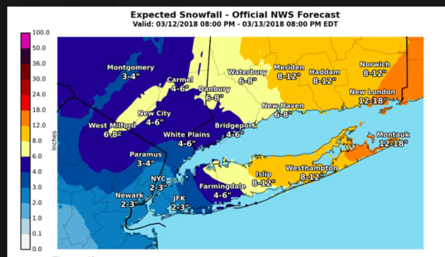 The most updated snowfall projections, released Tuesday morning by the National Weather Service.
