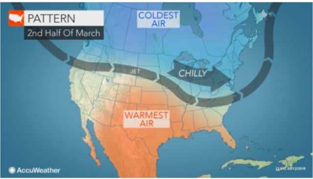 A cold weather pattern will coincide with the start of spring on Tuesday, March 20.